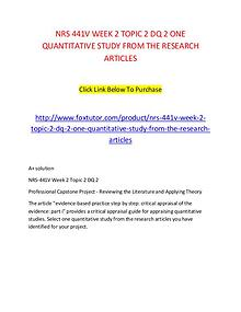 NRS 441V WEEK 2 TOPIC 2 DQ 2 ONE QUANTITATIVE STUDY FROM THE RESEARCH