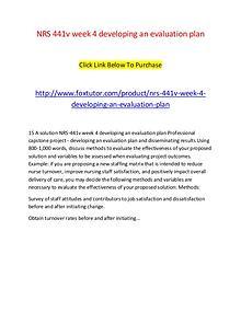 NRS 441v week 4 developing an evaluation plan