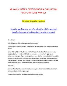NRS 441V WEEK 4 DEVELOPING AN EVALUATION PLAN CAPSTONE PROJECT