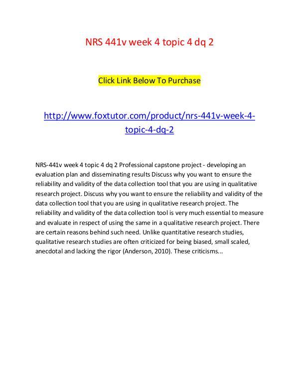 NRS 441v week 4 topic 4 dq 2 NRS 441v week 4 topic 4 dq 2