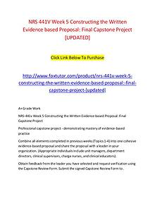 NRS 441V Week 5 Constructing the Written Evidence based Proposal Fina