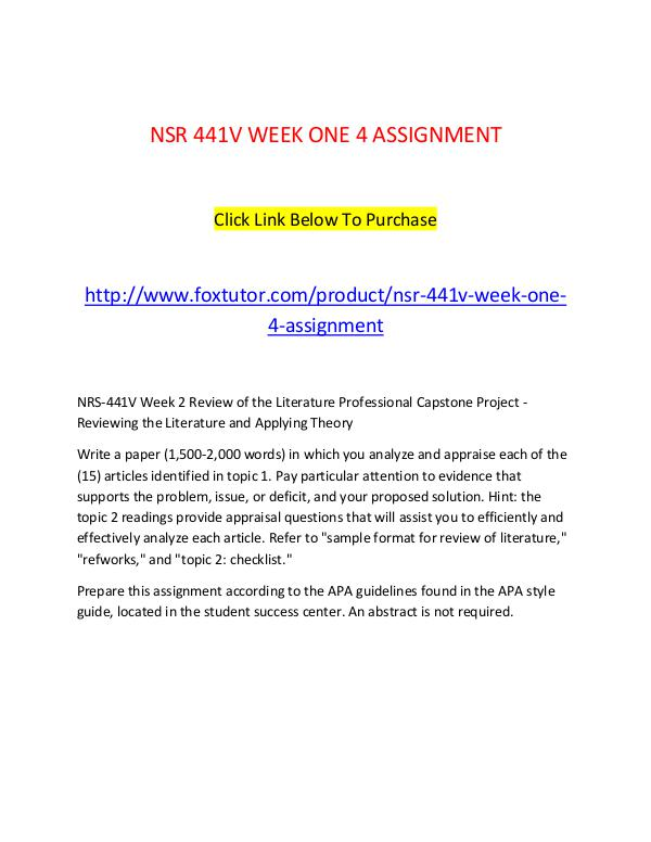 NSR 441V WEEK ONE 4 ASSIGNMENT NSR 441V WEEK ONE 4 ASSIGNMENT