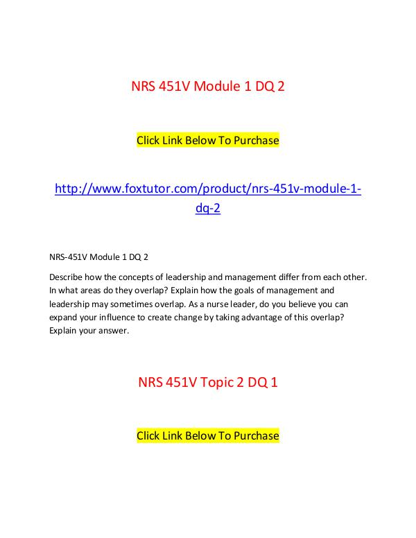 NRS 451 V All Assignments NRS 451 V All Assignments