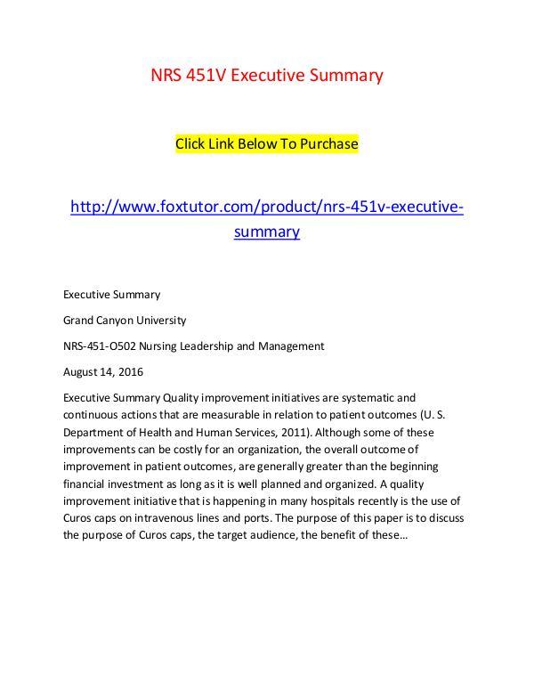 NRS 451V Executive Summary NRS 451V Executive Summary