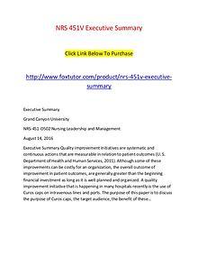NRS 451V Executive Summary