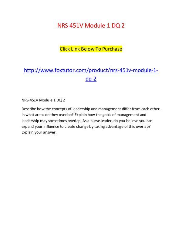 NRS 451V Module 1 DQ 2 NRS 451V Module 1 DQ 2