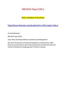 NRS 451V Topic 2 DQ 1