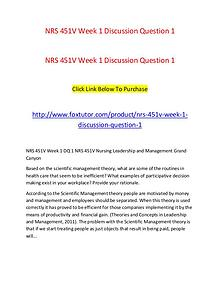 NRS 451V Week 1 Discussion Question 1