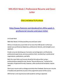 NRS 451V Week 1 Professional Resume and Cover Letter