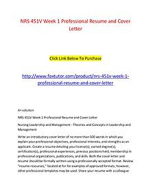 NRS 451V Week 1 Professional Resume and Cover Letter (2)
