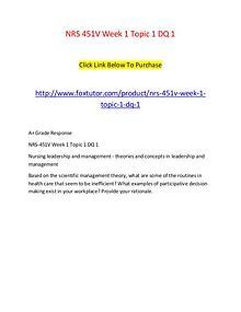 NRS 451V Week 1 Topic 1 DQ 1