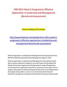 NRS 451V Week 2 Assignment; Effective Approaches in Leadership and Ma