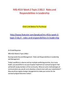 NRS 451V Week 2 Topic 2 DQ 2   Roles and Responsibilities in Leadersh