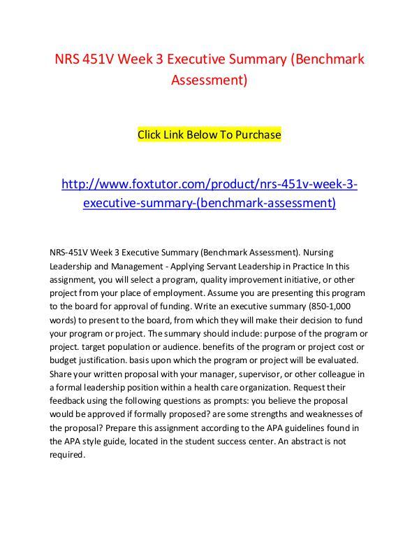 NRS 451V Week 3 Executive Summary (Benchmark Assessment) NRS 451V Week 3 Executive Summary (Benchmark Asses