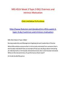 NRS 451V Week 3 Topic 3 DQ 2 Extrinsic and intrinsic Motivation