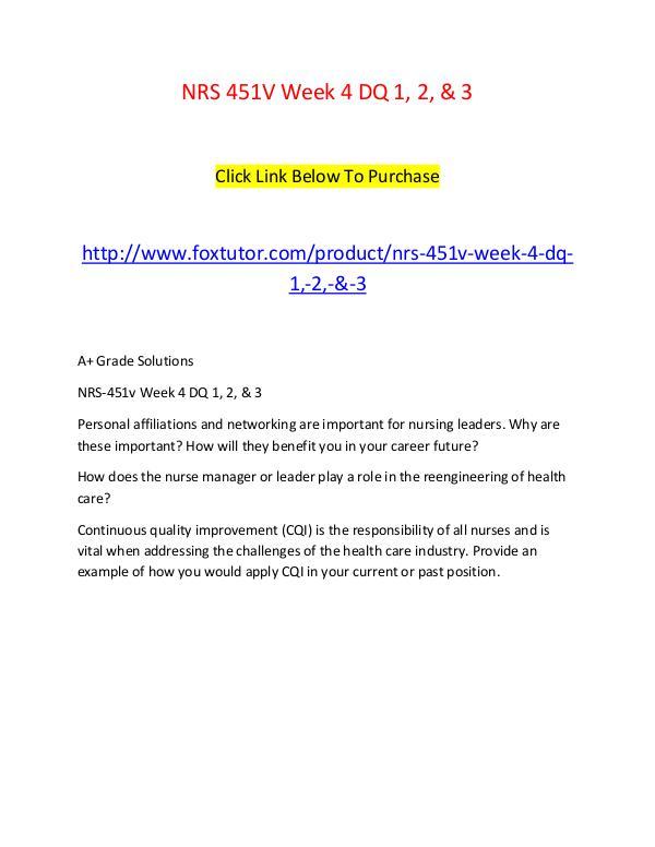 NRS 451V Week 4 DQ 1, 2, & 3 NRS 451V Week 4 DQ 1, 2, & 3