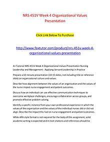 NRS 451V Week 4 Organizational Values Presentation
