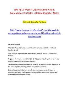 NRS 451V Week 4 Organizational Values Presentation [13 Slides + Detai