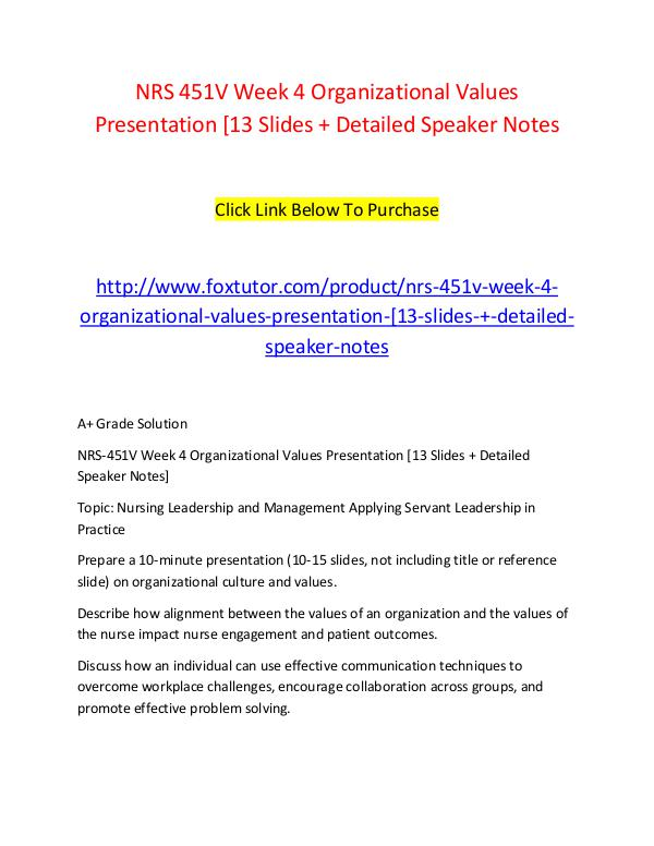 NRS 451V Week 4 Organizational Values Presentation [13