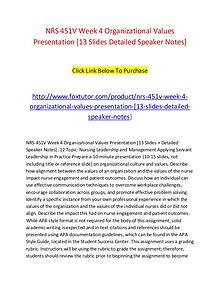 NRS 451V Week 4 Organizational Values Presentation [13 Slides Detaile