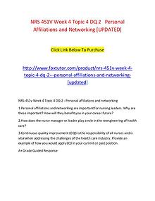NRS 451V Week 4 Topic 4 DQ 2   Personal Affiliations and Networking [