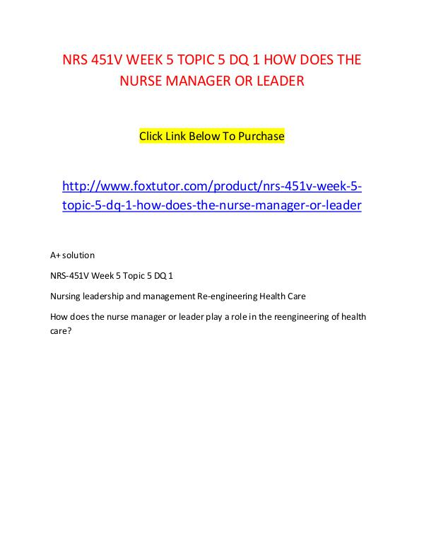 nurse managers role in reengineering health care