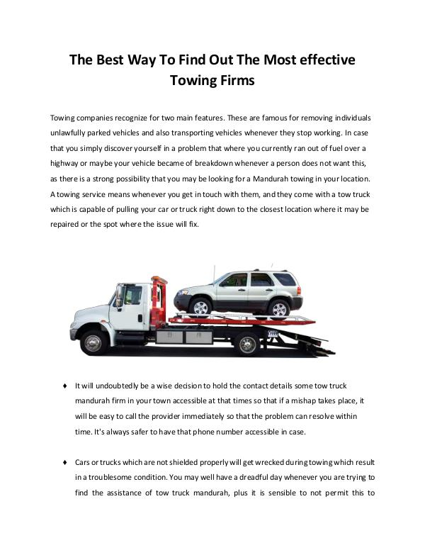 Towing Service Mandurah the most exceptional tow truck service towingmandurah