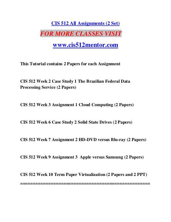 CIS 512 MENTOR Great Stories/cis512mentor.com CIS 512 MENTOR Great Stories/cis512mentor.com