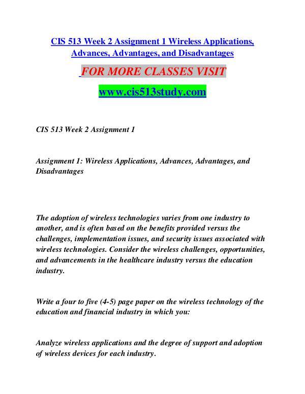 CIS 513 STUDY Great Stories/cis513study.com CIS 513 STUDY Great Stories/cis513study.com