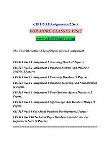 CIS 515 STUDY  Great Stories/cis515study.com