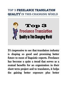 Top 3 Freelance Translation Quality in This Changing World