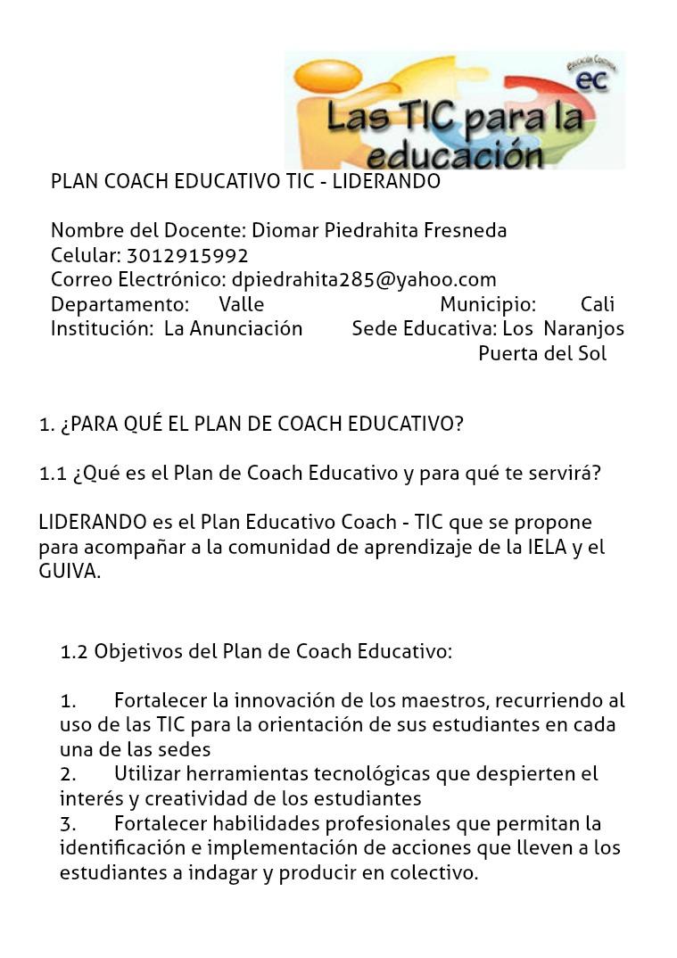 PLAN EDUCATIVO COACH - LIDERANDO Compartiendo mi Plan Coach