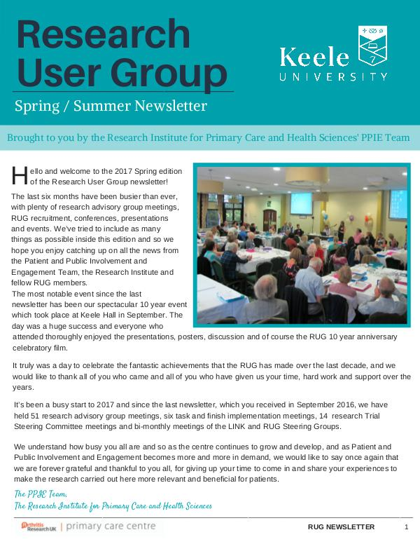 Research User Group Newsletter Keele University RUG Spring / Summer edition