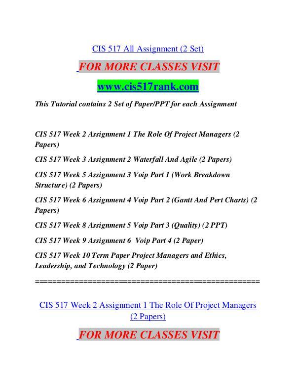CIS 517 RANK  Great Stories/cis517rank.com CIS 517 RANK  Great Stories/cis517rank.com
