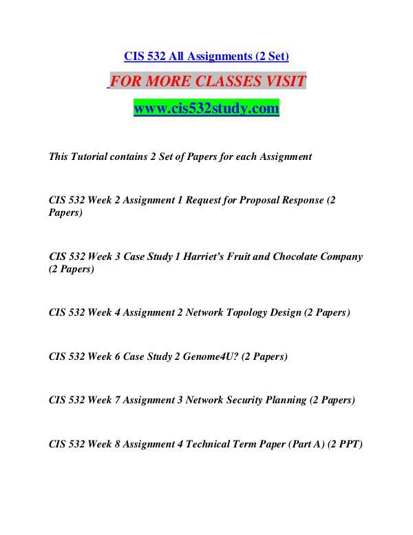 CIS 532 STUDY Great Stories/cis532study.com CIS 532 STUDY Great Stories/cis532study.com