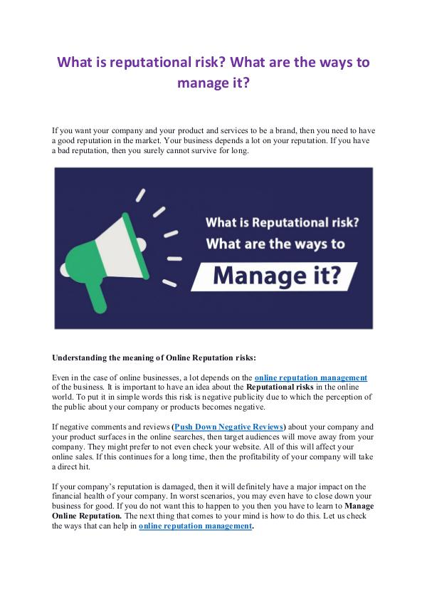 What is reputational risk? What are the ways to manage it? What is reputational risk? What are the ways to ma
