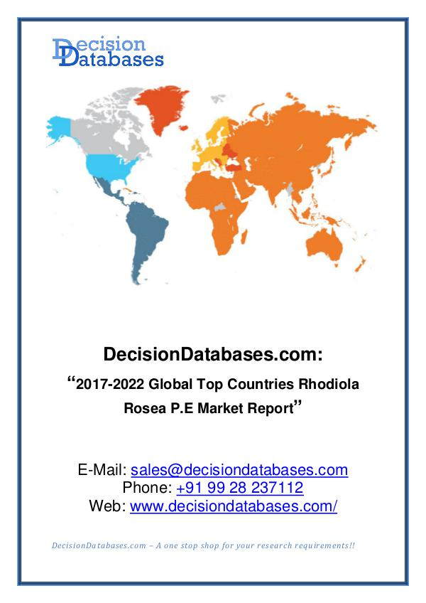 Market Report Global Rhodiola Rosea P.E Market Report