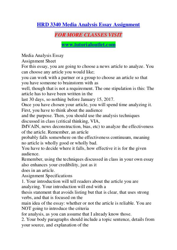 High School Admission Essay Samples Hrd  Media Analysis Essay Assignment  Tutorialoutlet Dot Com Hrd  Media  Analysis Essay Assignment Essay On Healthy Eating Habits also Argumentative Essay Thesis Examples Hrd  Media Analysis Essay Assignment  Tutorialoutlet Dot Com  Essay About Healthy Food