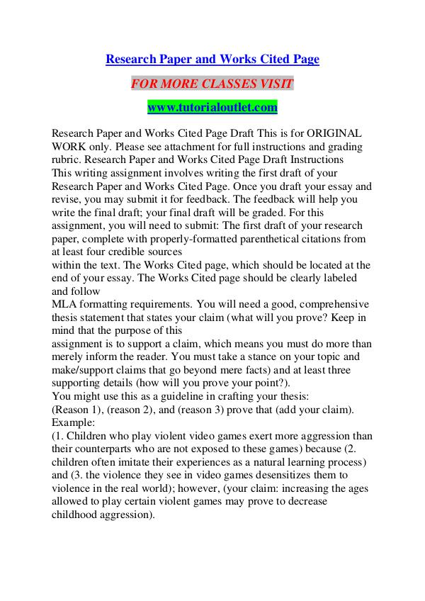 RESEARCH PAPER AND WORKS CITED PAGE / TUTORIALOUTLET DOT COM RESEARCH PAPER AND WORKS CITED PAGE / TUTORIALOUTL