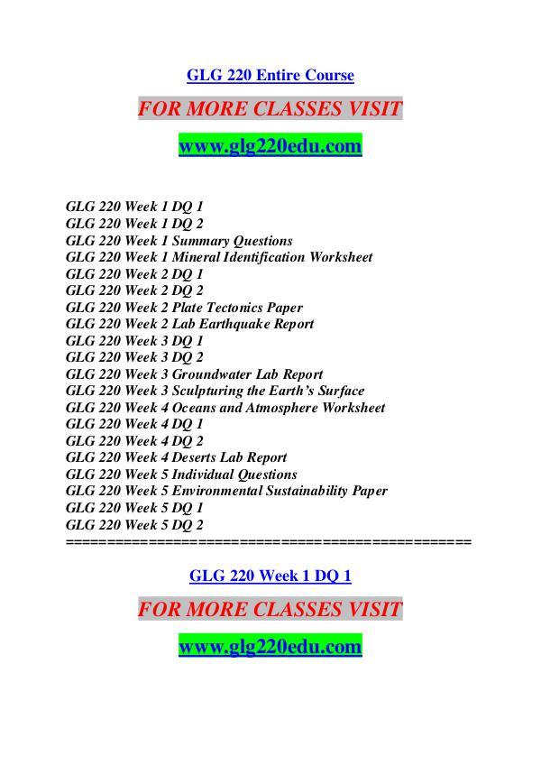 GLG 220 EDU Keep Learning /glg220edu.com GLG 220 EDU Keep Learning /glg220edu.com