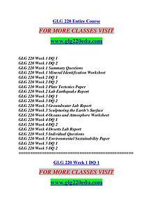 GLG 220 EDU Keep Learning /glg220edu.com