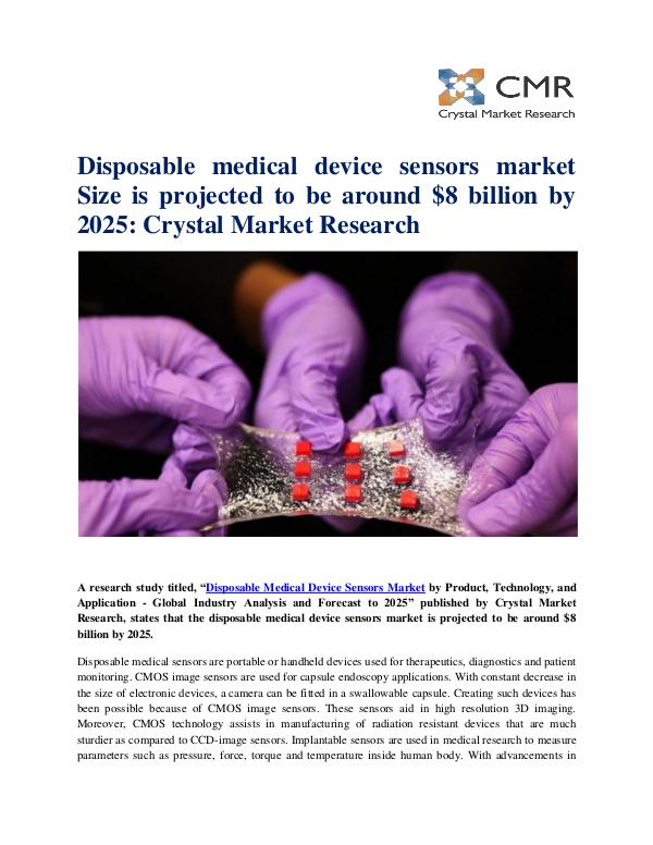 Market Research Reports- Consulting Analysis Crystal Market Research Disposable Medical Device Sensors Market by Produc