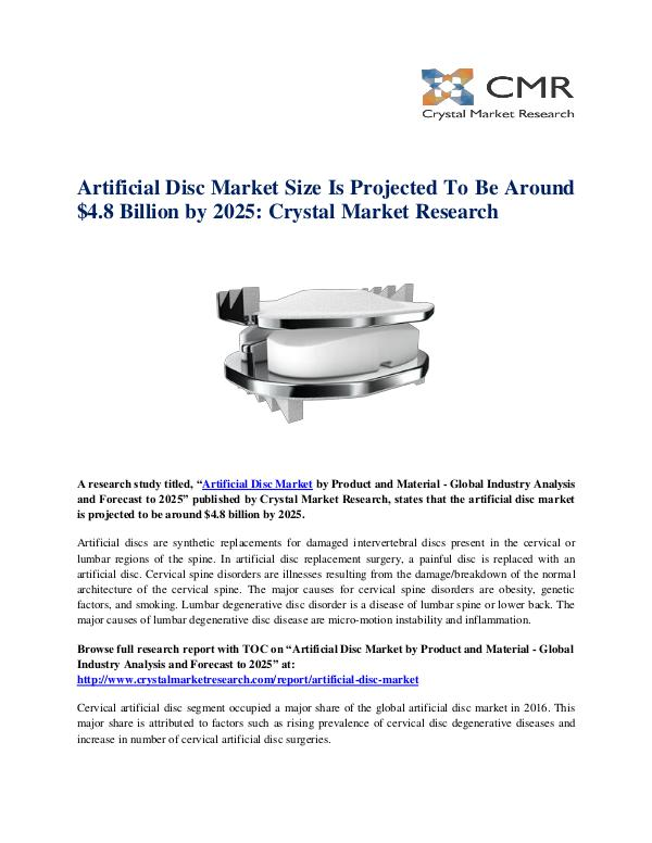 Market Research Reports- Consulting Analysis Crystal Market Research Artificial Disc Market by Product and Material - G