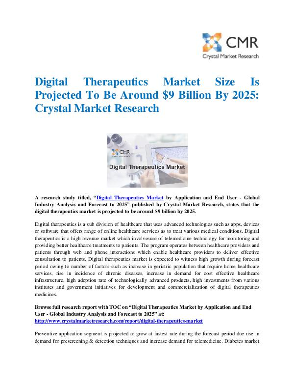 Market Research Reports- Consulting Analysis Crystal Market Research Digital Therapeutics Market by Application and End
