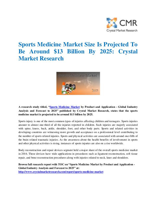 Market Research Reports- Consulting Analysis Crystal Market Research Sports Medicine Market by Product and Application