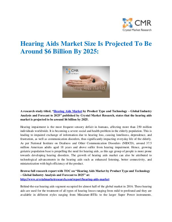 Market Research Reports- Consulting Analysis Crystal Market Research Hearing Aids Market by Product and Technology - Gl