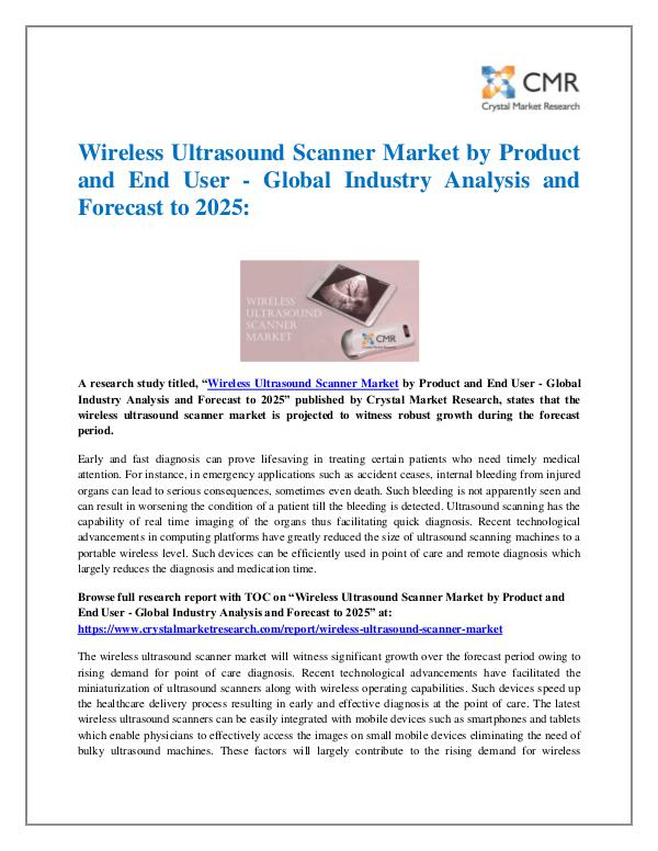 Market Research Reports- Consulting Analysis Crystal Market Research Wireless Ultrasound Scanner Market