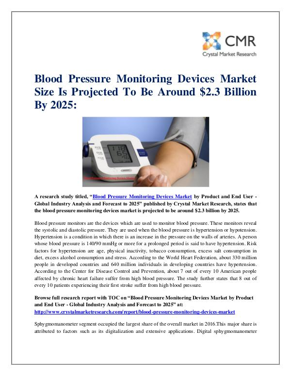 Market Research Reports- Consulting Analysis Crystal Market Research Blood Pressure Monitoring Devices Market by Produc