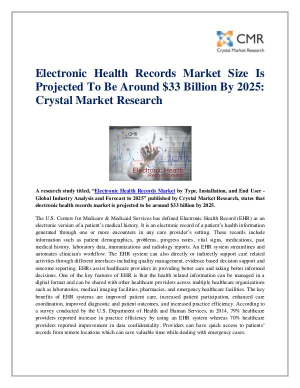Market Research Reports- Consulting Analysis Crystal Market Research Electronic Health Records Market by Type - Global