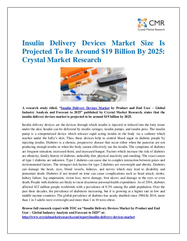Market Research Reports- Consulting Analysis Crystal Market Research Insulin Delivery Devices Market by Product and End